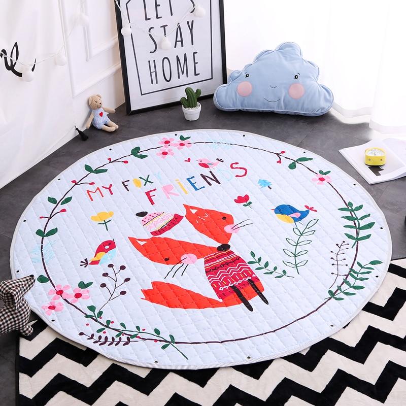 1.5 M mes amis renard rond dessin animé bébé ramper tapis matelassé enfants jouer à des jeux jouets tapis de rangement Portable voyage anti-dérapant tapis de repos