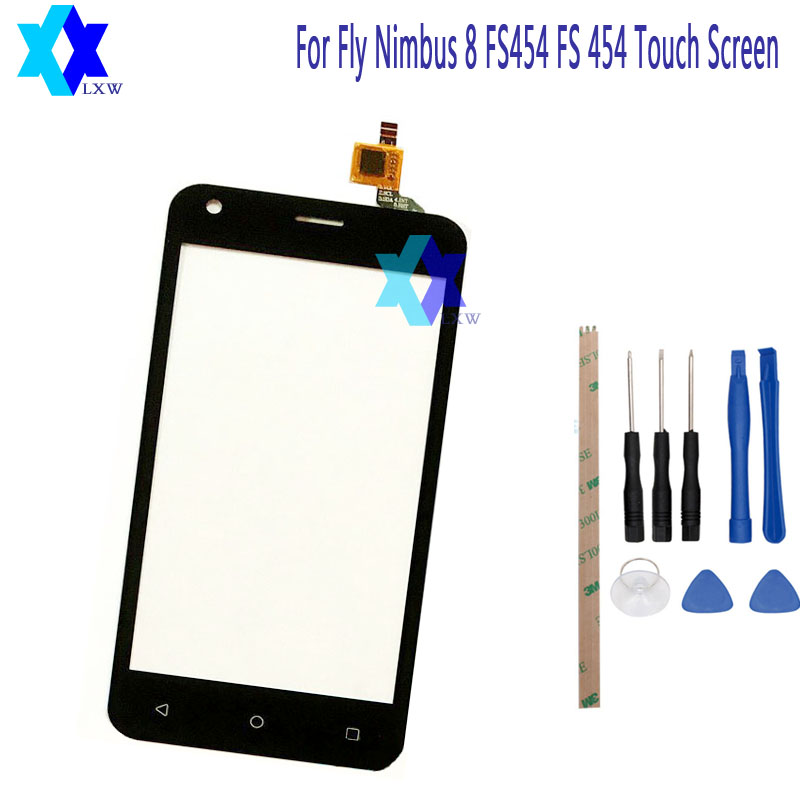For Fly FS454 nimbus 8 FS 454 Touch Screen Glass Original New Glass Panel Touch Screen 4.5 inch Tools+Adhesive Stock