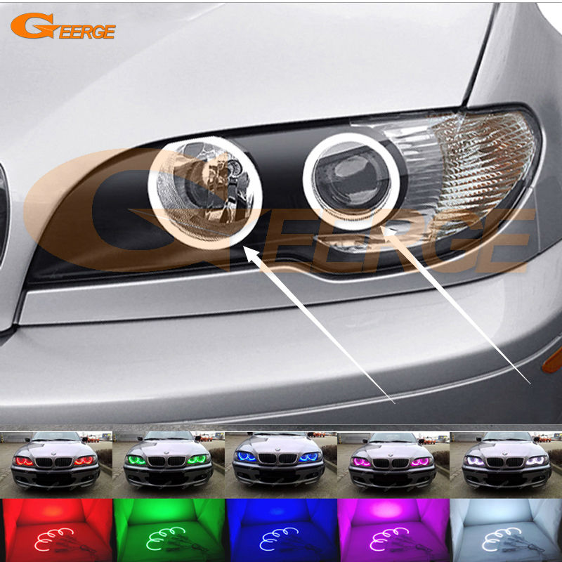 For BMW 3 Series E46 Convertible Coupe Cabrio 2004 2005 2006 LCI Excellent Multi-Color Ultra bright RGB LED Angel Eyes kit for bmw 3 series e46 2door facelifted coupe 2004 2005 2006 carbon fiber black front grille grill left