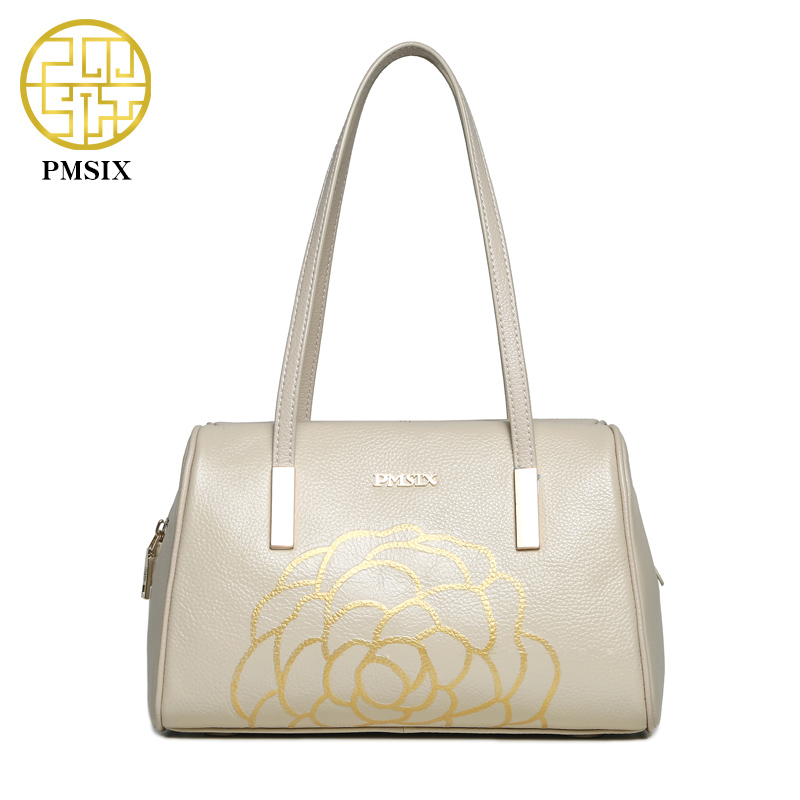 ФОТО Pmsix 2017 Summer New Women Genuine Leather Shoulder Bag Embossed Flower Cow Leather Boston Bags Ladies Real Leather Handbags