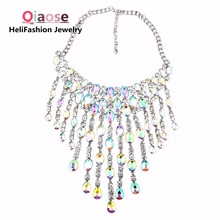 Qiaose AB colors big crystal gems pendant chain chunky collar necklace jewelry for women maxi statement necklace wholesales