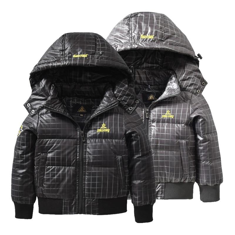 Toddler Boy Winter Coat Soft Kids Down Jacket Fashion Baby Boys Detachable Cap Plaid Coat Children Thicken Warm Outerwear Jacket detachable furry hood thicken zip up down coat