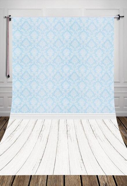 Bleu Clair Damassé Baroque Style Papier Peint Blanc Plancher De