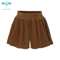 Oumowei Spring Autumn High Waist Shorts Women Black Loose Casual Velvet Shorts Elastic Waist Plus Size Hot Short
