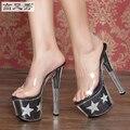 Zapatos de Las Mujeres Sandalias de Tacón Alto de Nueva Sexy 17 cm Zapatillas A Prueba de agua Transparente Con Cristal Fino Zapato Femenino Plus-tamaño 35-44