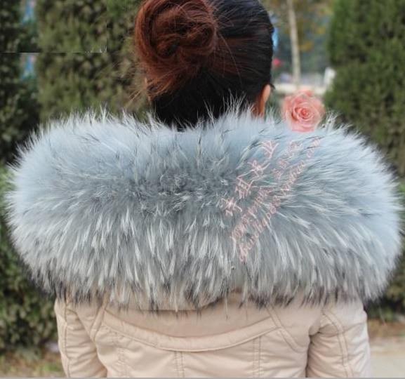 Invierno 100% Genuino Real Natural de piel de Mapache Cuello de - Accesorios para la ropa