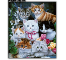 5D Diy Diamond Painting Cross Stitch Cat Family & Flowers Needlework Embroidery Full Round Mosaic Decoration Resin Kits