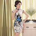 Style Summer Dress Women Flowers slik Cheongsam Dresses Slim Chinese Dress Painting Mandarin Collar Qipao Dress