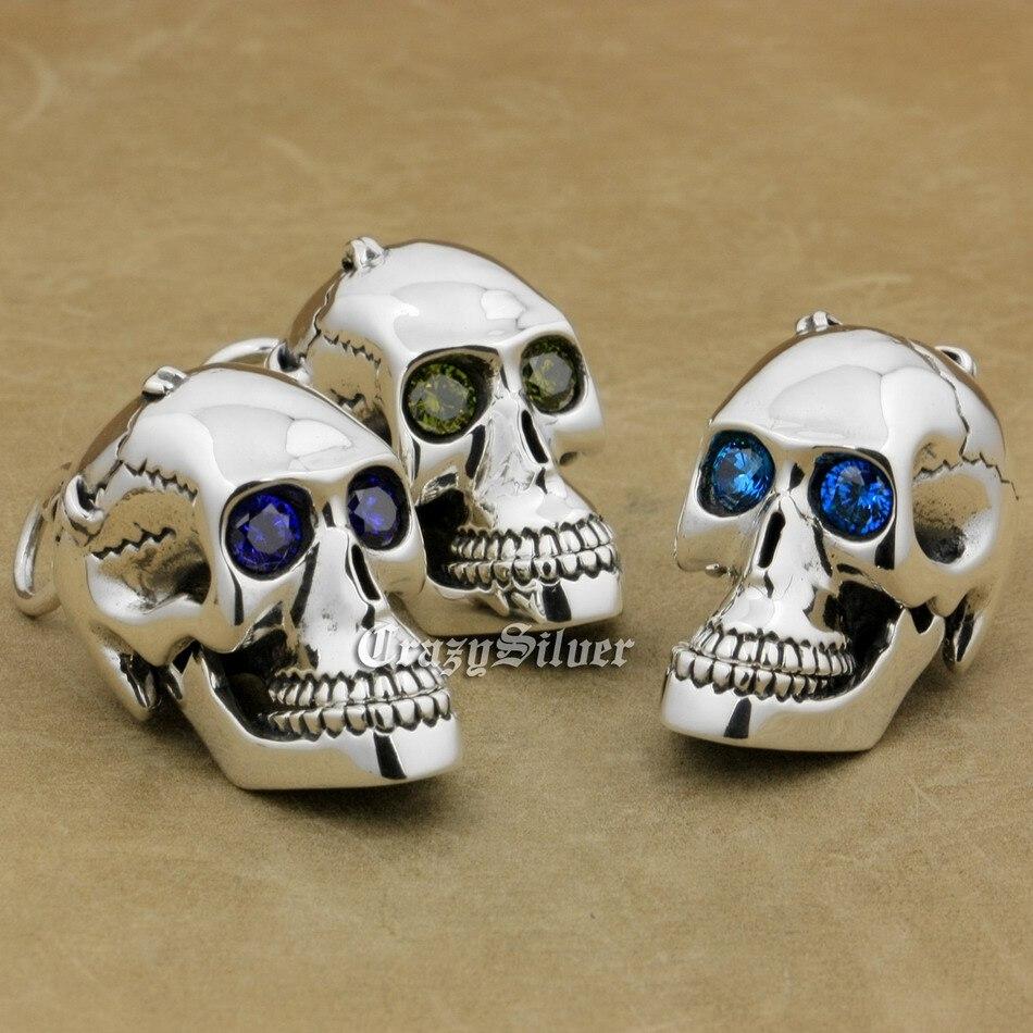 925 Sterling Silver CZ Eyes Skull Mouth Jaw Openable Mens Biker Rocker Punk Pendant 8C113 Just Pendant925 Sterling Silver CZ Eyes Skull Mouth Jaw Openable Mens Biker Rocker Punk Pendant 8C113 Just Pendant