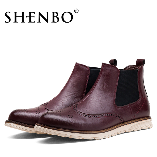 SHENBO Brand New Arrival Fashion Brogue Style Chelsea Boots, High Quality Men Ankle Boots