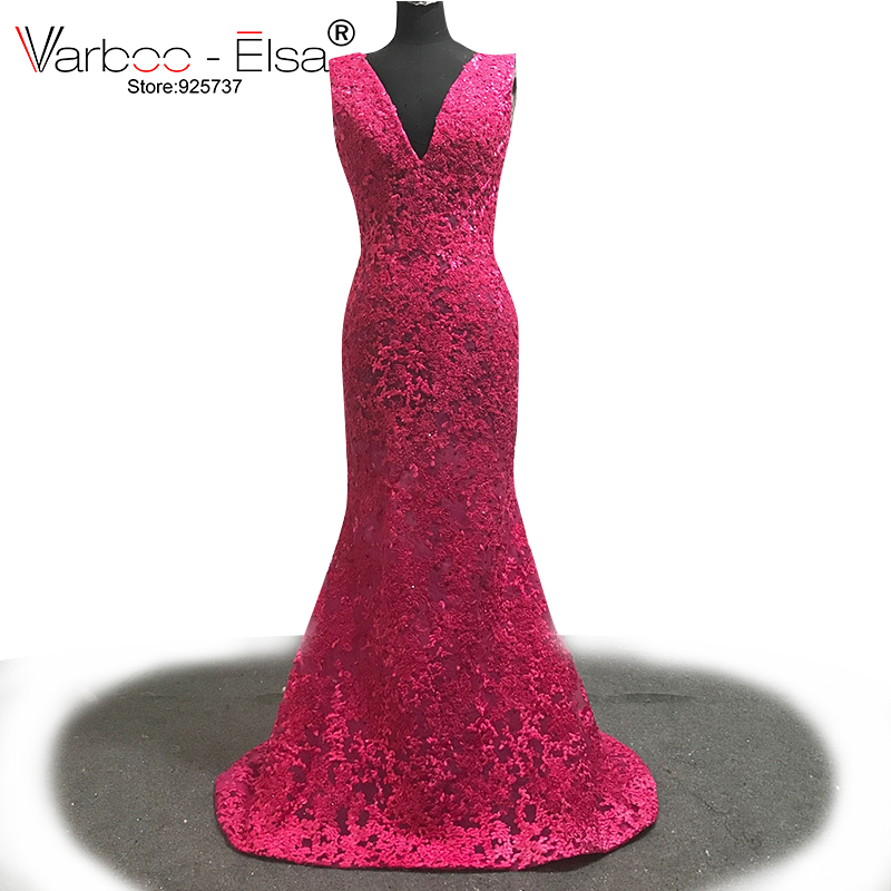 b0ea982c9f6 VARBOO ELSA Double V Neck Sexy Mermaid Evening Dress Lace Beading Appliques  Long Prom Dress 2018 New Rose Red Party Dress Custom