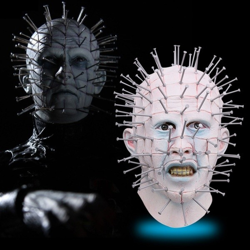 Horror Film Hellraiser Latex Pinhead Mask Thriller Full Head Pin Helmet Prop Role Play Halloween Masquerade Party Cosplay