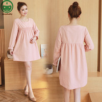 2017 Fashion Cotton Dresses For Pregnant Women Korean Style Dress Maternity Clothes O Neck Loose Maternity