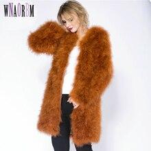 2019 90cm  Hot Sale Ostrich Wool Fur Plus Size Women Coat Feather Winter Jackets and Coats Casaco De Pele