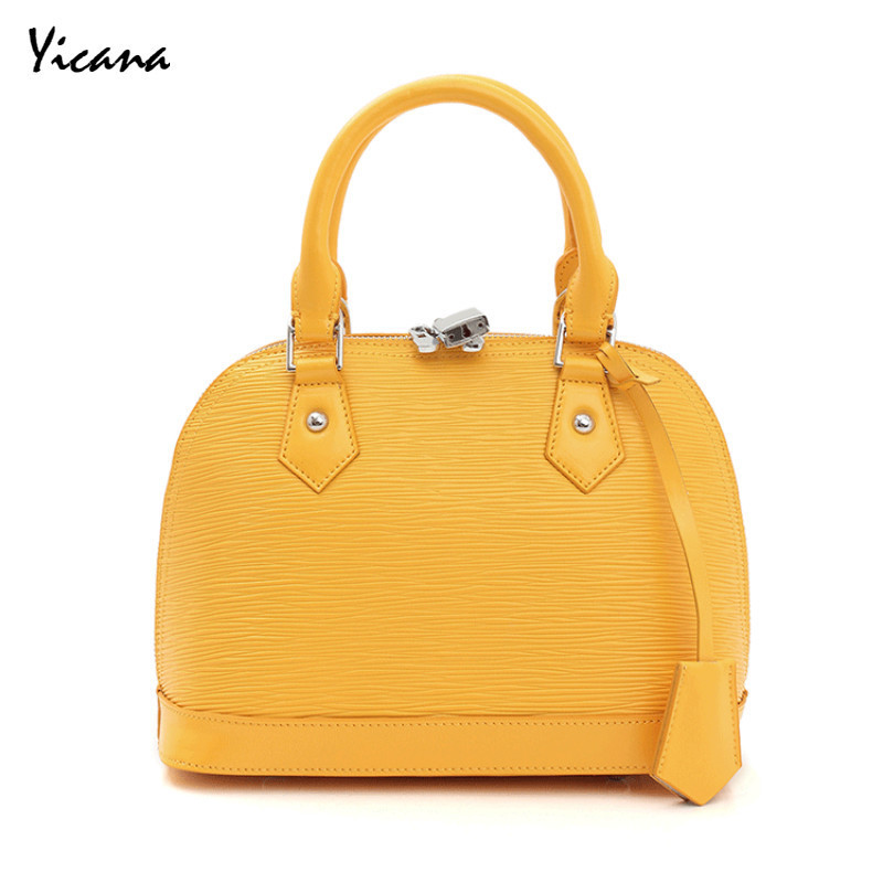 Yicana 2018 New Style Cowhide Woman handbag Fashion Toothpick Grain Shell Package Shoulder Messenger bag yeetn h new arrival fashion woman handbag shoulder