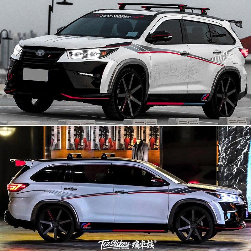 For Toyota Highlander 2018 2019 Car Stickers Pull Flower Color Strip Highlander Body Special Decorative Paper Film Coating