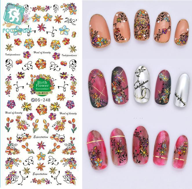 Rocooart DS248 DIY Designer Water Transfer Nails Art Sticker Cartoon Flowers Birth Element Nail Wraps Sticker manicure stickers 2016 cartoon design nail art manicure tips water transfer nail stickers paradise vacation desgins nails wraps collections decor