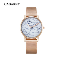 Cagarny Fashion Creative Watches Quartz Watch Women Rose Gold Steel Mesh Bracelet Watch Ultra Thin Imitation