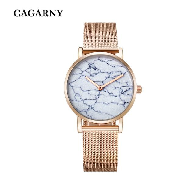 Cagarny Mode Creatieve Horloges Quartz Horloge Vrouwen Rose Goud Staal Mesh Armband Horloge Ultradunne Imitatie Marmer Reloje Mujer