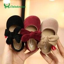 Claladoudou 11.5 〜 15.5 センチメートル幼児の黒スエードビッグボウタイプリンセス靴レッド女ダンス靴ベージュ幼児の靴