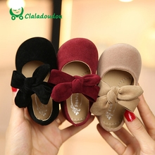 Claladoudou 11.5 15.5cm Toddler Girls Shoes Black Suede Big Bowtie Princess Shoes Red Baby Girls Dance Shoes Beige Infant Shoes