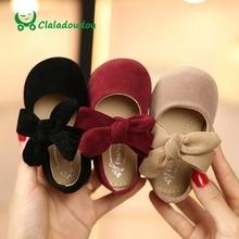 Claladoudou chaussures pour filles et fillettes, noires, en daim, rouge, chaussures de princesse avec grand nœud papillon, de danse pour bébés filles, 11.5 15.5cm