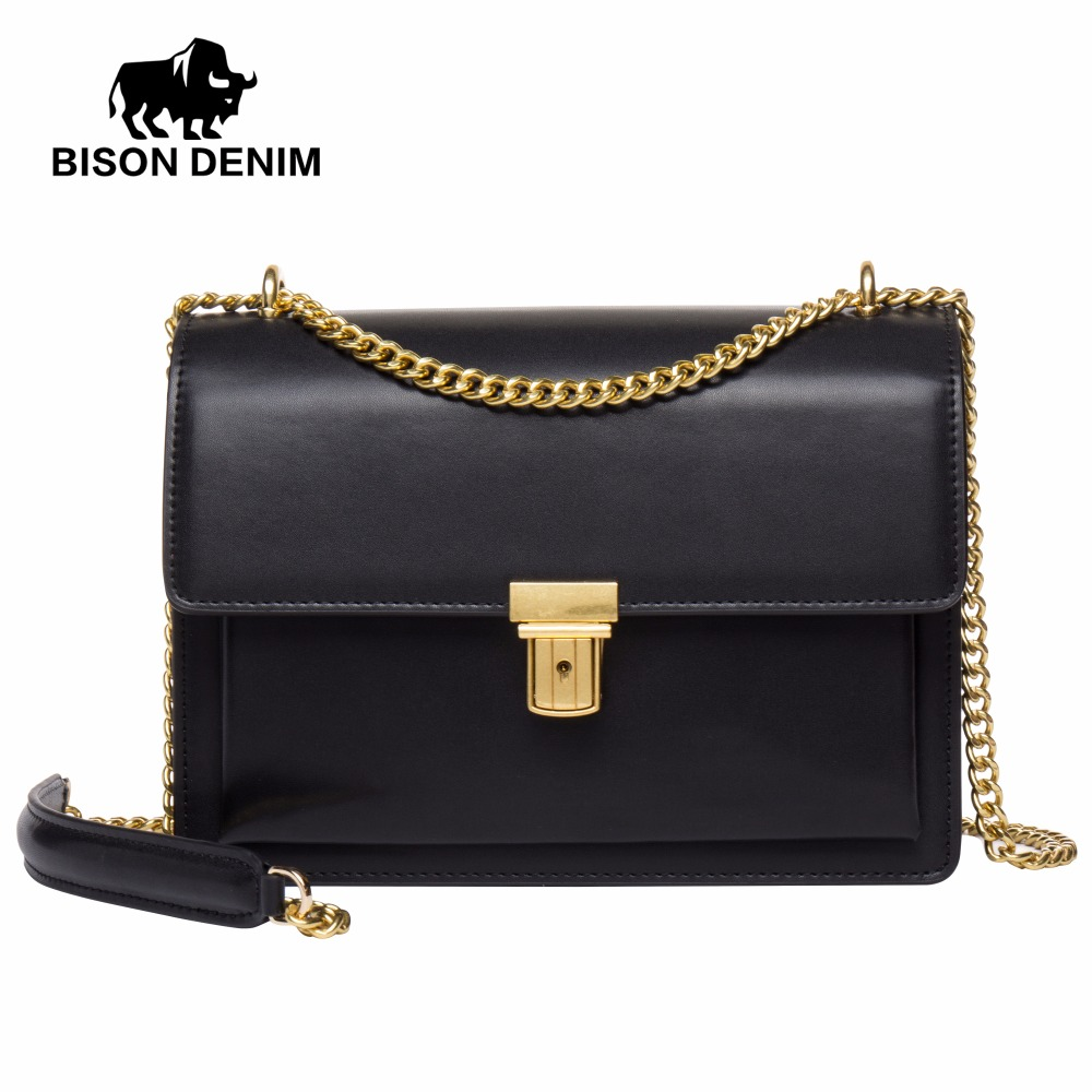 BISON DENIM Hot Sale Women Messenger Bags High Quality Genuine Leather Famous Brand Design Luxury Women Shoulder Bags N1401 genuine leather women messenger bags patchwork saddle bags high quality 2016 new fashion shoulder bags hot selling famous brand
