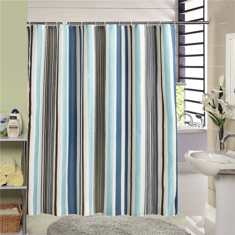 Striped Fabric Polyester Bathtub Shower Curtain Bathroom Curtains with 12 Hooks Waterproof Mildewproof Home Decoration