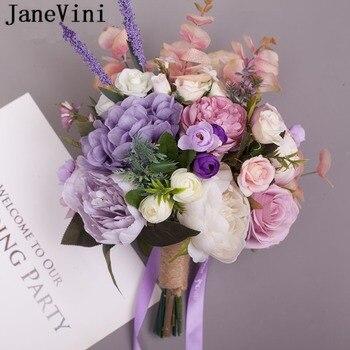 JaneVini 2019 Romantic Bridal Wedding Bouquet Artificial Purple Silk Rose Ramos Flores Bride Holding Flowers Wedding Accessories