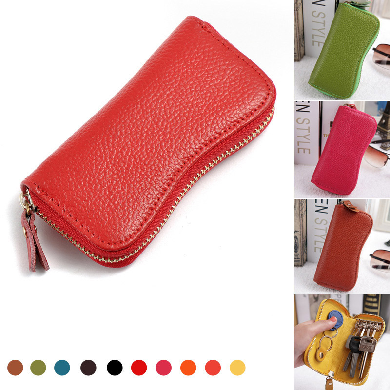 754d8180be6c64 High Quality Genuine Leather Key Wallet 2018 New Arrival Car Key Holder  Small Coin Purses Holders Zipper Housekeeper For Keys-in Key Wallets from  Luggage ...