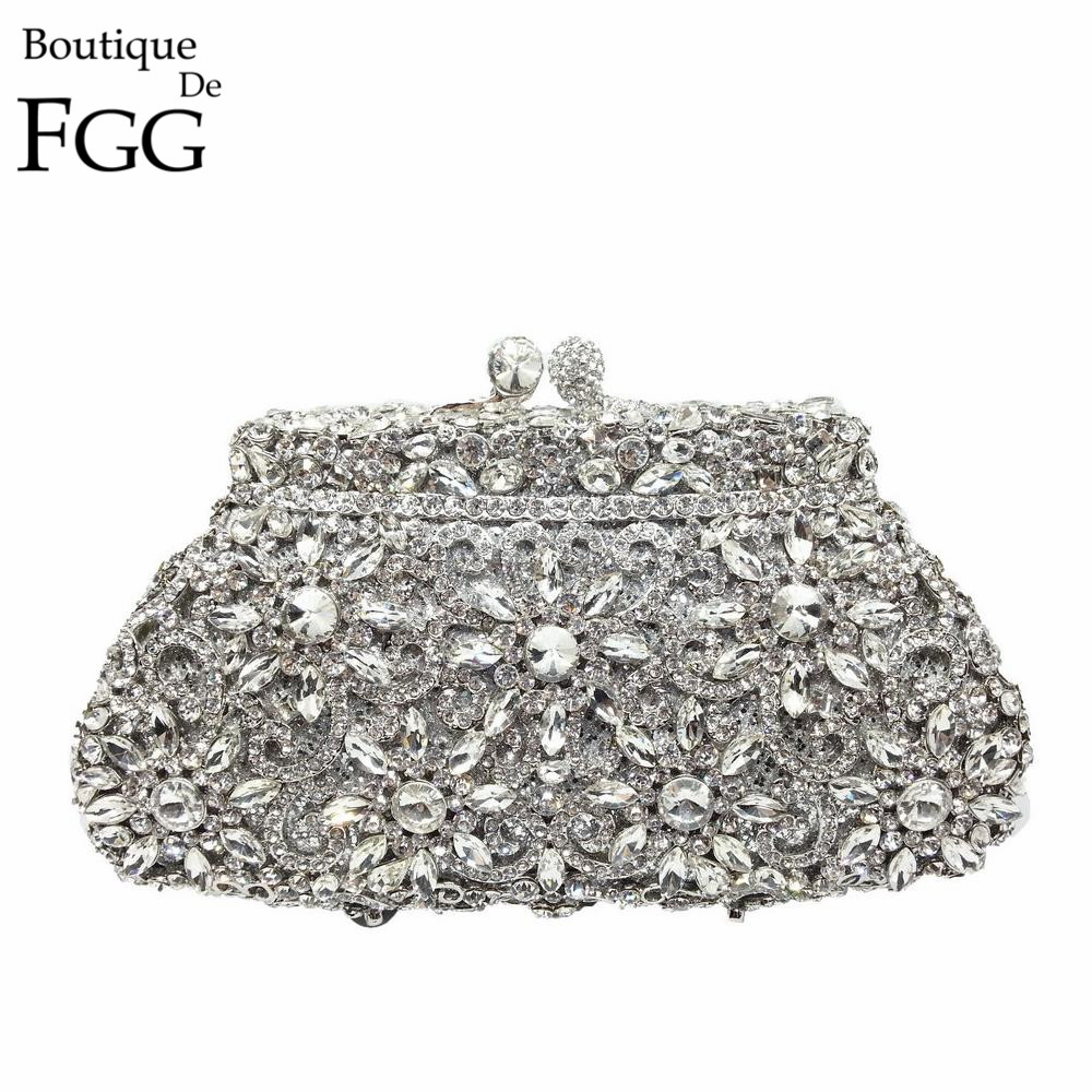 Presentkasse Metall Minaudiere Koppling Silver Kväll Crystal Handväskor Kvinnor Socialt Party Prom Väska Bridal Clutches Wedding Purse