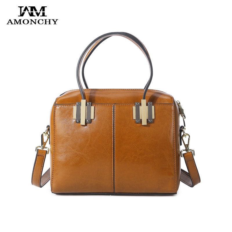 AMONCHY Brand Women Handbags Summer Female Shoulder Bags Oil Wax Cow Leather Lady Boston Bag Vintage Small Messenger Bags Totes caker brand women large pu casual totes lady patchwork handbags vintage shoulder bags female panelled jumbo messenger bags
