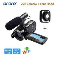 Ordro HDV Z20 1080 P 8MP Full HD 3.0 сенсорный ЖК экран датчика цифровой камеры 16x аудио видео w/ MIC + бленда
