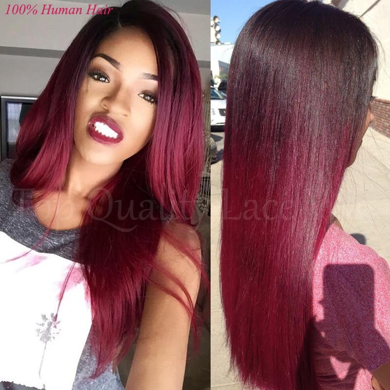 2016 Fashion 8a Remy Two Tone Lace Wig1b Burgundy Lace