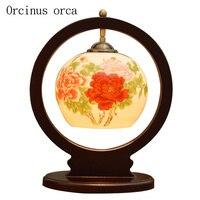 Новый китайский античный креативный керамический Настольный светильник спальня прикроватная лампа американская пасторальная Цветочная ж