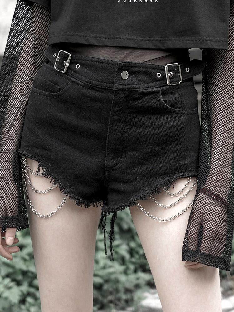 Punk Rave Ladies Gothic Goth Punk Rock Denim Ripped Jean Shorts with spikes