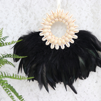 Free Shipping 1pcs Lot Yellow Cowries Feather Hanging Crafts Natural Shell Beach Wedding Decor Handmade Craft