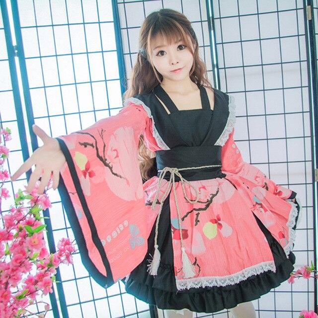 SEEDRULIA  Anime Cosplay Lolita Halloween Fancy Dress Japanese Kimono Lovely Cos Dress 1