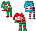 2016 New Baby Girl Christmas Clothing Set Children Girls Santa Snowman Lace Long Sleeve Stripe Pants Suit