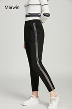 цена на Marwin Cuffed Leg Pinstripe Peg Pants Women Fashion Leisure Clothing High Waist Trousers 2018 Autumn New Casual Elastic pants