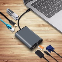 8-in-1 USB-C Hub Adapter with Type C Power Delivery HDMI 4K 30Hz,VGA,Audio Jack,Ethernet RJ45 TF Card for MacBook Pro Type-C HUB