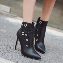 Autumn Winter New Boots Stiletto High Heels shoes women Black Short Boots Pointed Toe Botties Mujer 2018 Female Ankle Boots недорого