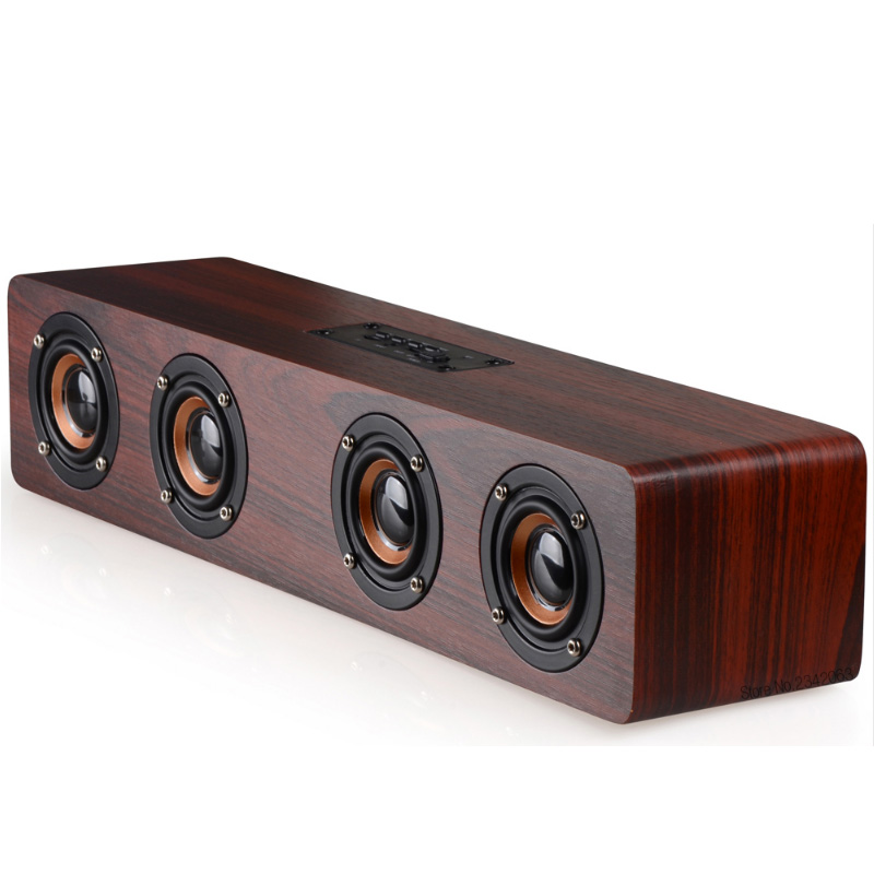 High Power Wood Wireless Bluetooth Speaker Portable Computer Speakers 3D Loudspeakers for TV Home Theater Sound Bar AUX цена 2017