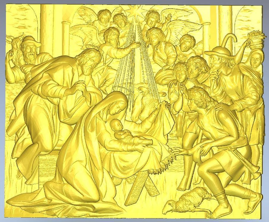 3d model relief  for cnc in STL file format Panno_Birth_of_Jesus 3d model relief for cnc in stl file format squirrel