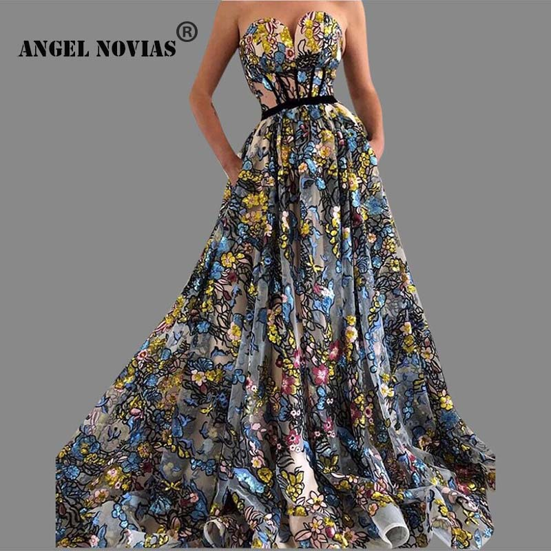 Angel Novias Long Custom Made Embroidery Lace Plus Size Luxury Arabic Abendkleider   Evening     Dress   2019 Robe Soiree Grande Taille