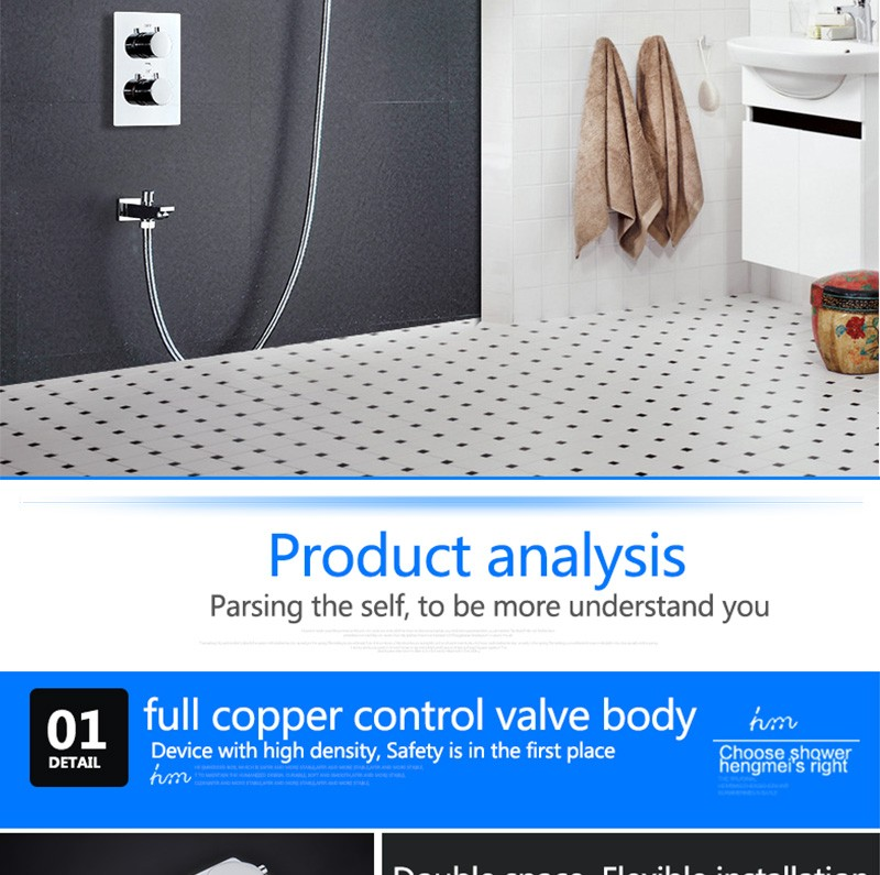 LED Shower Mixer Set Thermostat Faucet Shower Shower Head Powered by Water Square Saving Water Chromed Spout (18)
