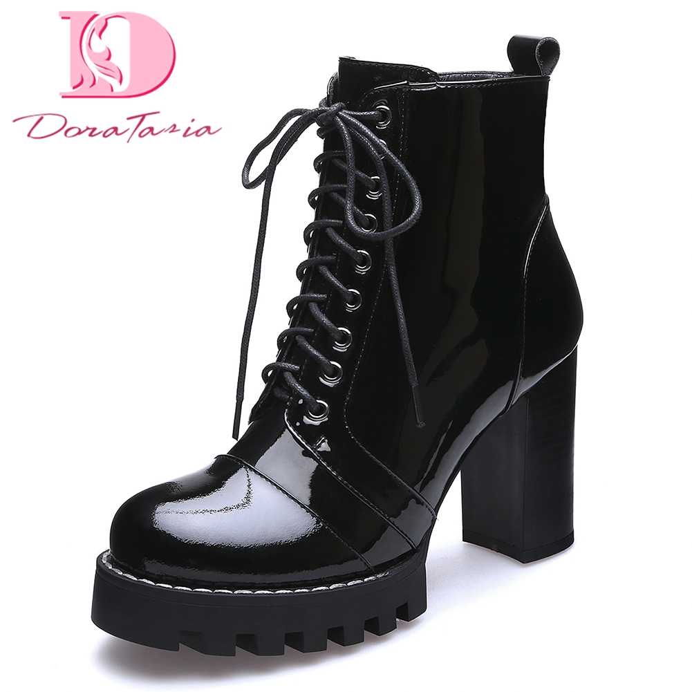 Doratasia 2018 Brand Cow Leather Genuine Leather Women Shoes Ankle Boots Fashion Platform High Heels Shoelaces