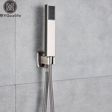 Ducha de mano de níquel cepillado con manguera de ducha de acero inoxidable de 150cm, ducha de mano de plástico, alcachofa de pared de soporte montada