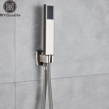 Fırçalanmış nikel elduşlu 150cm paslanmaz çelik duş hortumu plastik elduşlu braketi duvara monte elduşlu başkanı