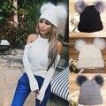 Mujeres Doble Fur Balls Sombreros Otoño Invierno Bellas Damas Moda de Punto Sombrero Caliente de la Gorrita Tejida de Punto Sombreros Al Aire Libre